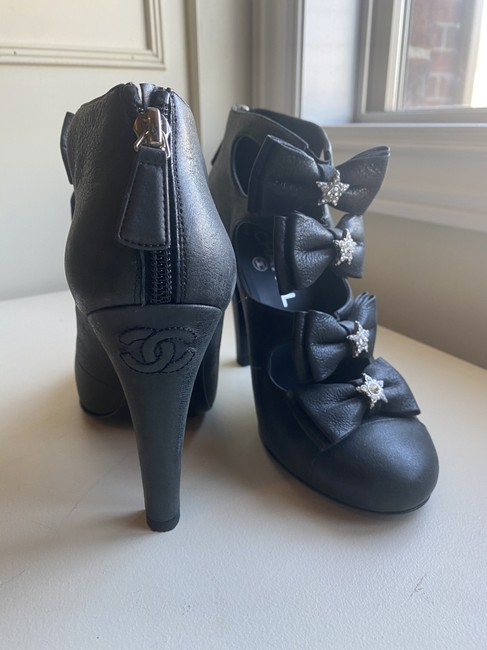 Item - Black Glitter Leather Crystal Strass Bow Open Heels Boots/Booties Boots/Booties Size EU 38 (Approx. US 8) Regular (M, B)
