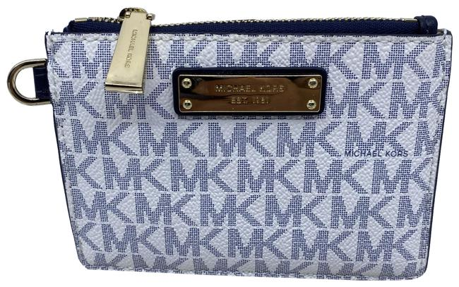 Item - White Blue Id On The Outside Key Card and Change Wallet