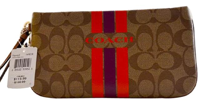 Item - Varsity In Signature Brown Orange Coated Canvas Wristlet