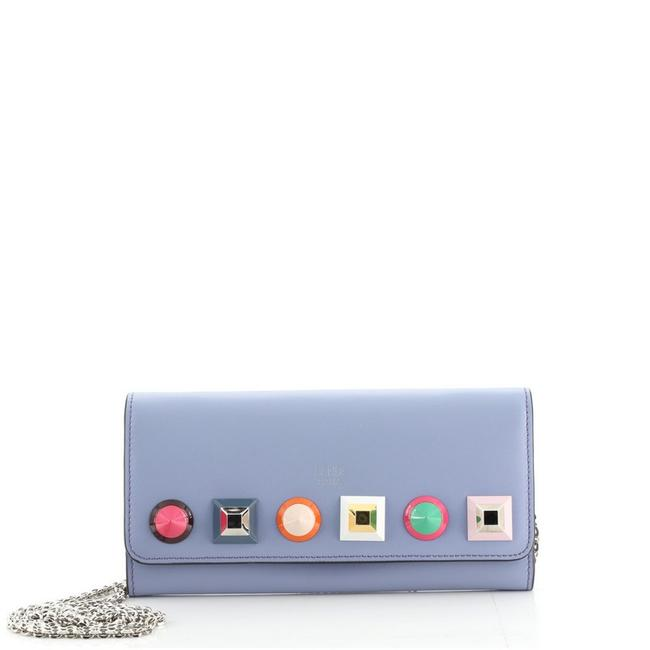 Item - Wallet on Chain Continental Studded Blue Leather Cross Body Bag