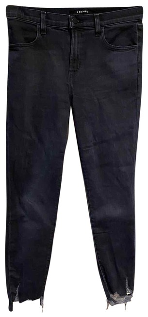 Item - Navy Distressed Alana High Rise Crop Skinny In Abstract Destruct Straight Leg Jeans Size 4 (S, 27)