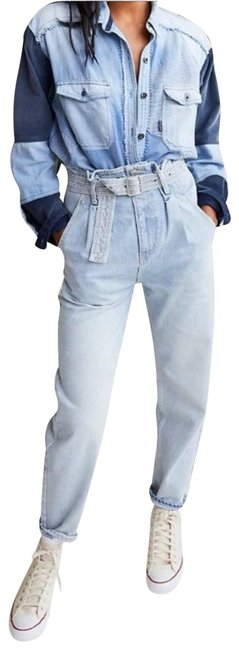 Item - Blue Sadie Paperbag Belted Denim Nwot Relaxed Fit Jeans Size 25 (2, XS)