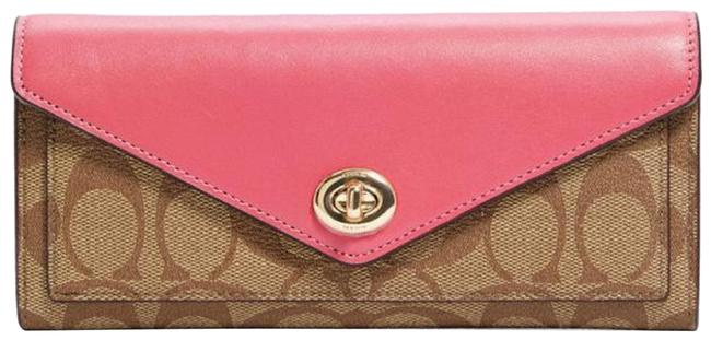Item - Pink New Envelope In Signature Canvas Wallet