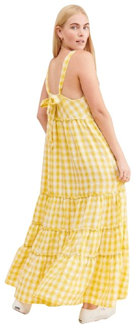 Item - White Club XS Beach Tiered Yellow Check Gingham Long Casual Maxi Dress Size 2 (XS)