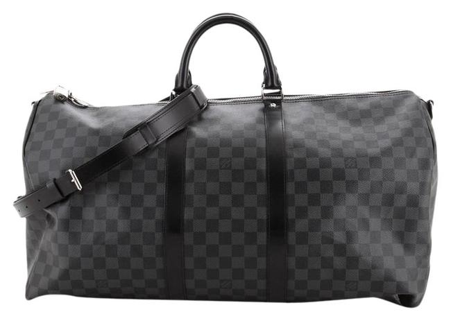 Item - Keepall Bandouliere Damier Graphite 55 Black Coated Canvas Tote