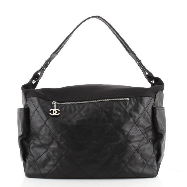 Item - Biarritz XL Quilted Coated Black Canvas Hobo Bag