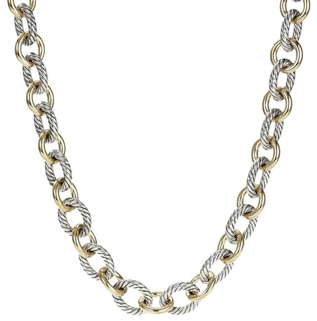 Item - Silver Large Oval Link with 18k Gold Necklace