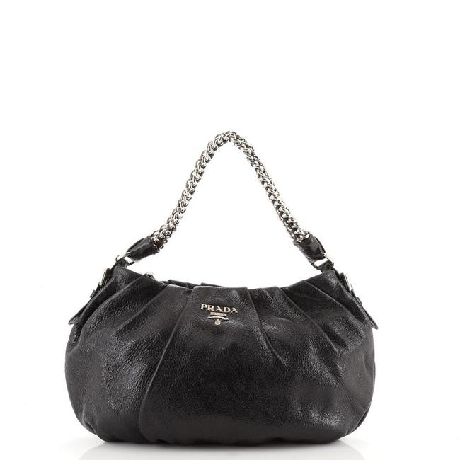 Item - Lux Chain Strap Cervo Small Black Leather Hobo Bag