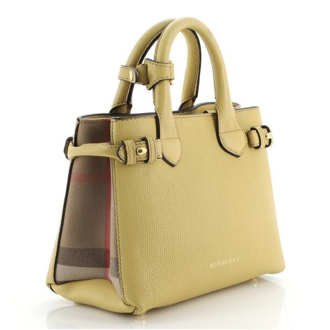 Burberry Banner and House Check Canvas Mini Yellow Leather Tote Burberry Banner and House Check Canvas Mini Yellow Leather Tote Image 2