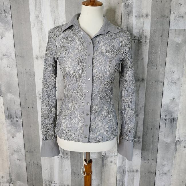 Item - Grey Lace Embroidered Button-down Top Size 6 (S)