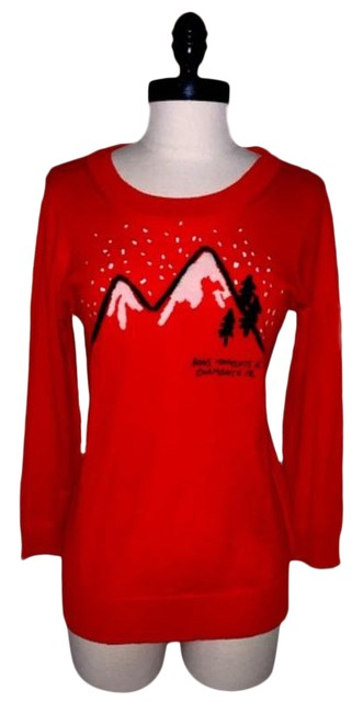 Item - Embroider Mountain Knit Red Orange Sweater