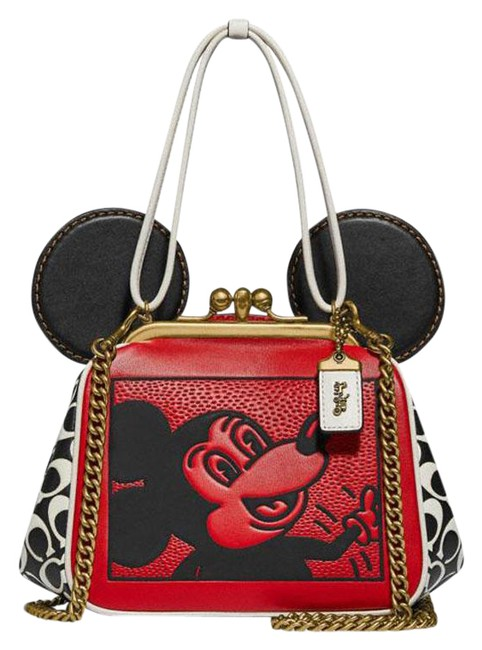 Item - X Disney Mickey Mouse Keith Haring Kisslock Red Multi Leather Cross Body Bag