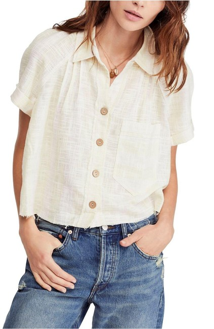 Item - Ivory Multi Away At Sea Shirt Button-down Top Size 12 (L)