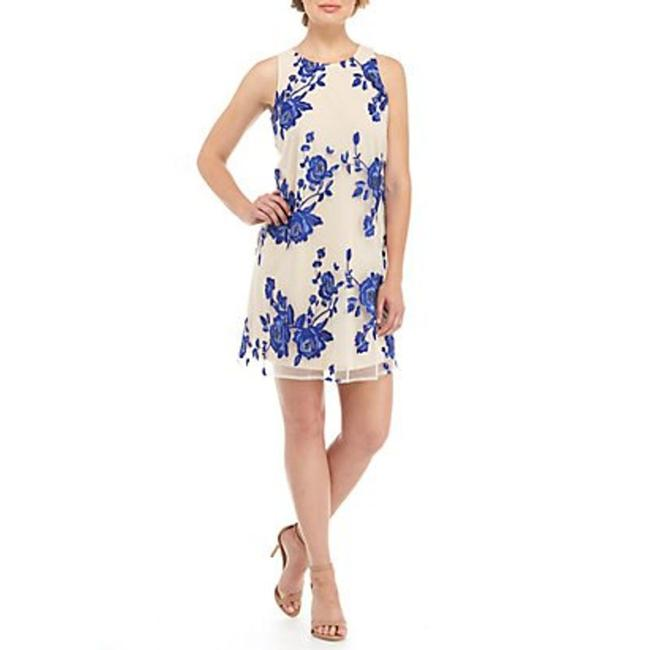 Item - Cream Embroidered Blue Rose Short Casual Dress Size 6 (S)