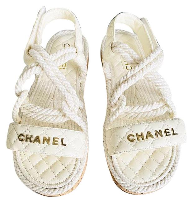 Item - White 20s Dad Cord Rope Quilted Cc Logo Strap Sandals Size EU 38 (Approx. US 8) Regular (M, B)
