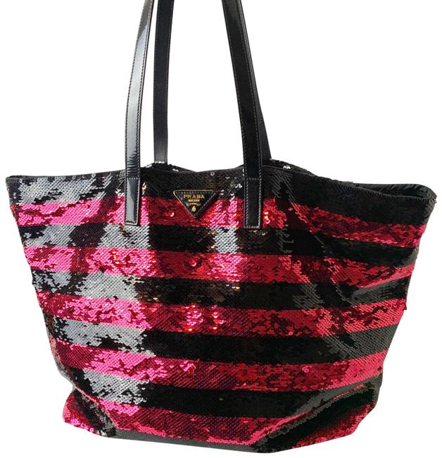 Item - Sequins Gold Hardware Pink & Black Nylon Tote