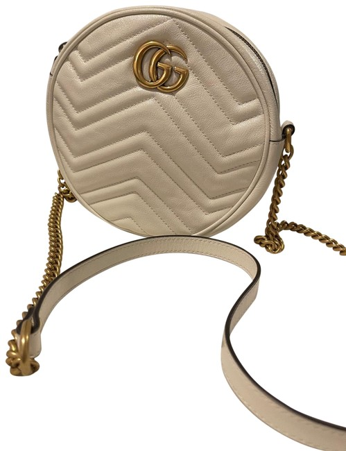 Item - Shoulder Marmont Gg Mini Round White Leather Cross Body Bag