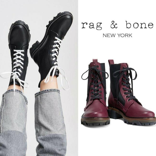 Item - Burgundy Red Black Shiloh Women's Ankle Combat Lace Up Boots/Booties Size US 6 Regular (M, B)