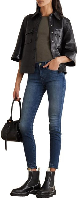 Item - Blue Le-skinny Jeanne Fading/Whiskering Ankle Style No. Lsj801 Skinny Jeans Size 25 (2, XS)