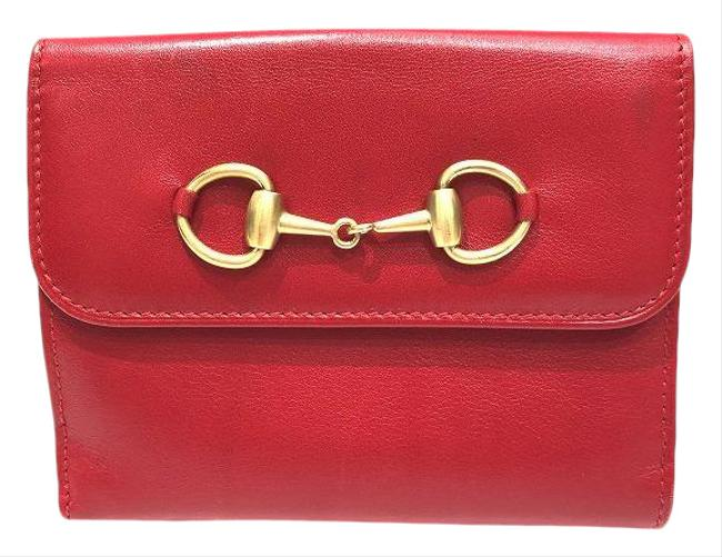 Item - Red Color Horsebit Bi-fold Ladies Wallet