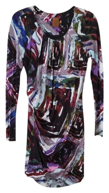 Item - Blue & Purple Jersey Abstract Short Night Out Dress Size 6 (S)