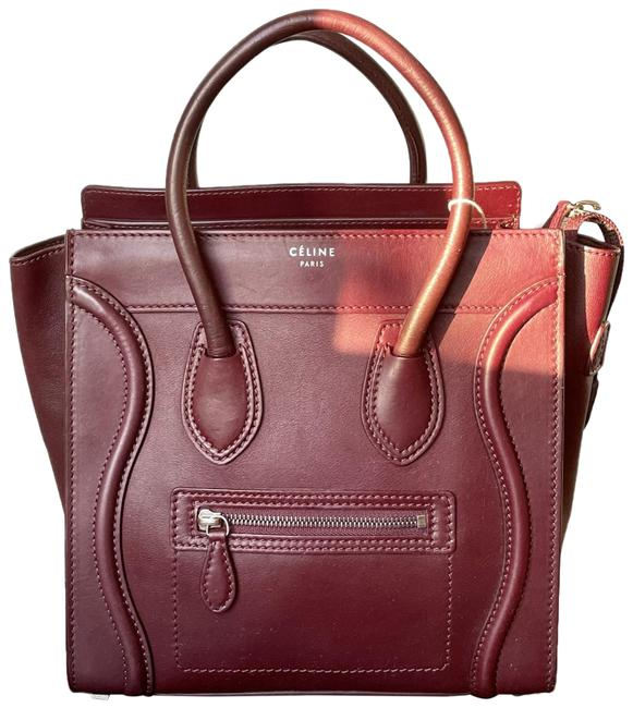 Item - Luggage Micro Red Burgundy Smooth Lambskin Leather Tote