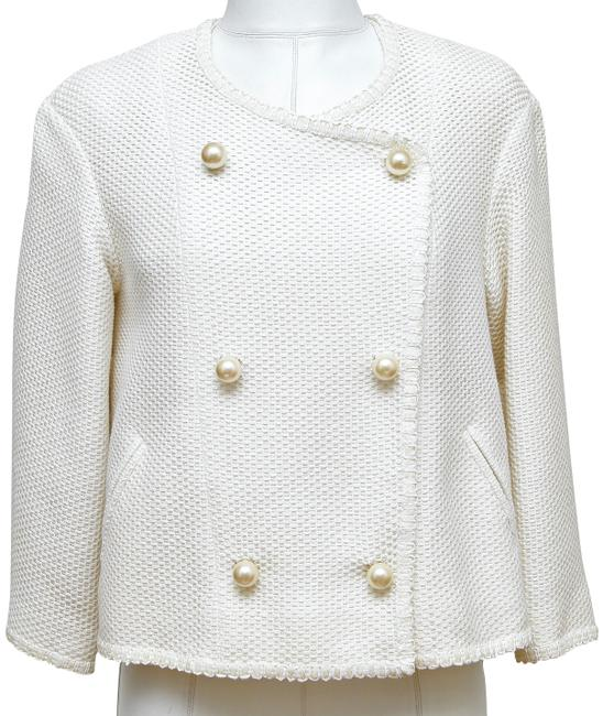 Item - White Tweed Jacket Coat Pearl Double Breasted 2013 34 Blazer Size 2 (XS)