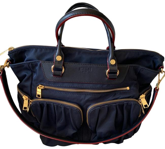 Item - Small Abby Tote Navy Nylon with Leather Accents Satchel
