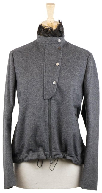 Item - Gray W Cashmere W/ Rooster Collar Jacket Size 6 (S)