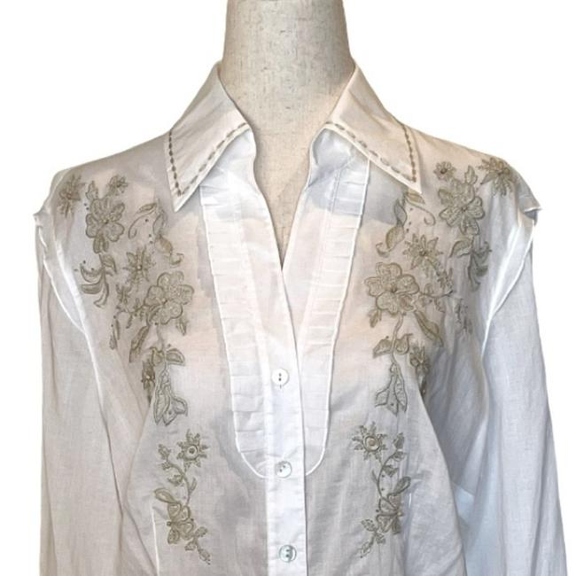 Item - White By Escada Embroidered Blouse Button-down Top Size 12 (L)