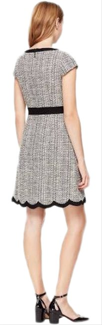 Item - Grey Black and White Tweed Scallop Detail Short Work/Office Dress Size 6 (S)
