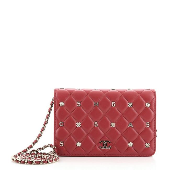 Item - Wallet on Chain Symbolic Quilted Lambskin Red Leather Cross Body Bag