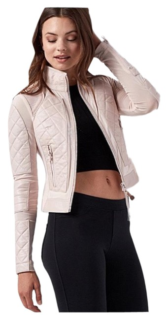 Item - Nude Pink (Baby Rose) Leather & Mesh Lace Up Back Moto Athletic Jacket Activewear Size 6 (S)