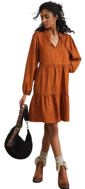 Item - Rust Amadi Tencel Tiered Tunic In Honey Large Short Casual Dress Size 12 (L)