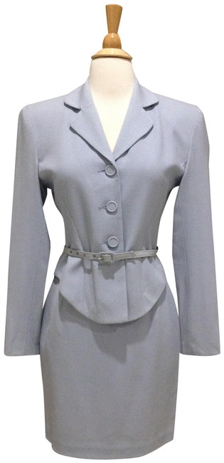 Item - Pale Blue Light Wool Belted Skirt Suit Size 0 (XS)