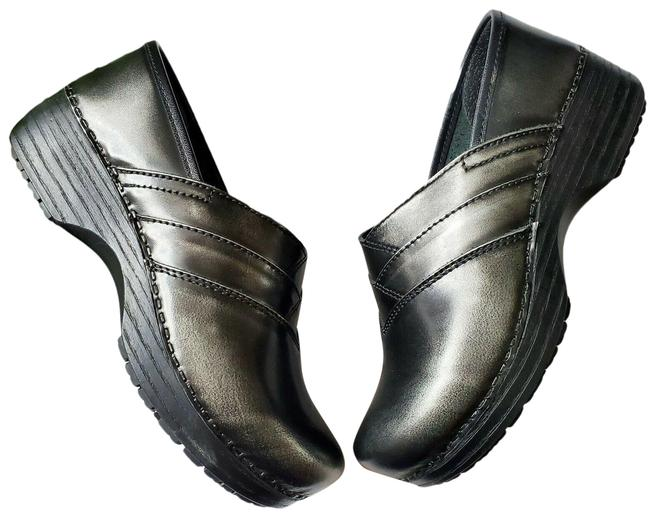 Item - Black B.i.o. System Metallic Ever Neutral Leather Mules/Slides Size US 6.5 Regular (M, B)