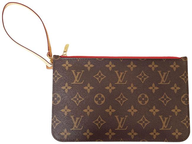 Item - Neverfull Pochette Coated Brown Monogram Canvas Wristlet
