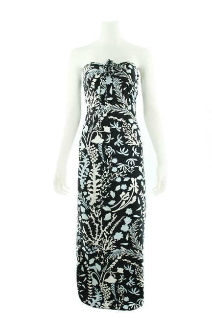 Item - Black XS With White/Blue Coral Print Long Casual Maxi Dress Size 0 (XS)