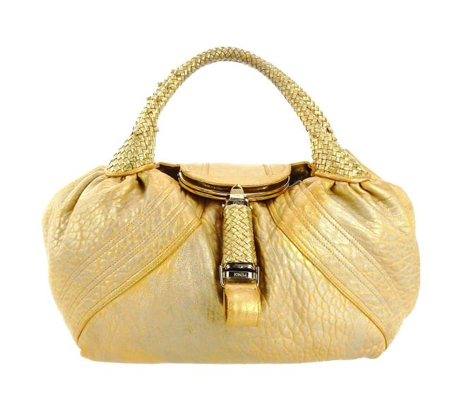 Item - Spy Yellow and Gold Leather Baguette