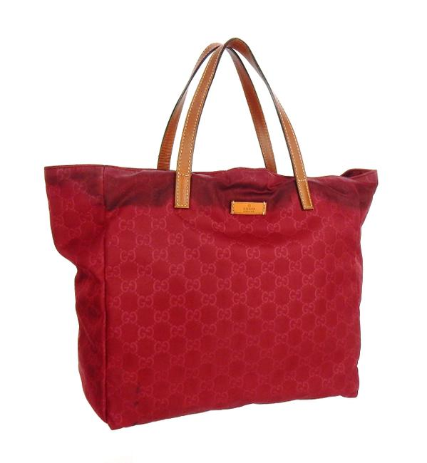 Item - Vertical Red Nylon ssima Gg Monogram Leather Tote