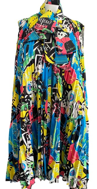 Item - Blue / Black / Yellow Pleated Short Casual Dress Size 4 (S)