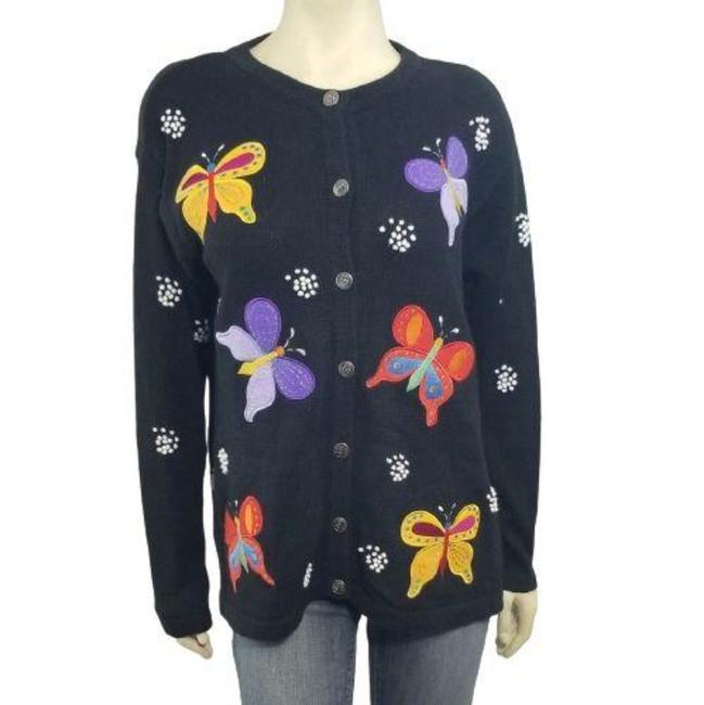 Item - Black Butterfuly Embroidered Ramie Cotton Sweater Cardigan Size 4 (S)