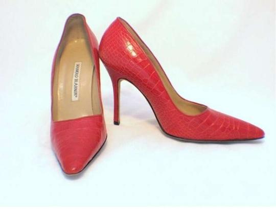 Manolo Blahnik Fire Engine Red Pumps