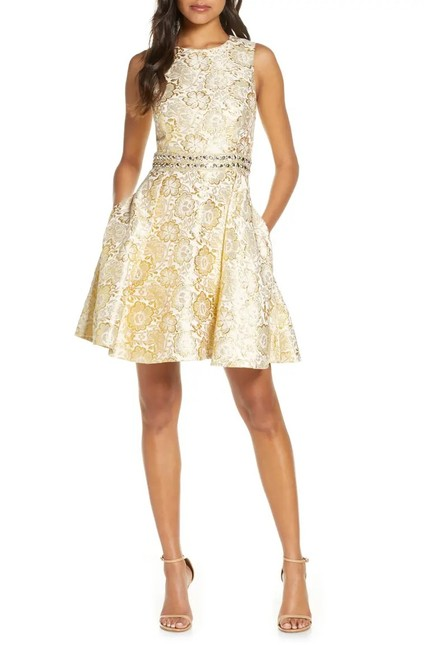 Item - Gold Metallic Blooming Floral Brocade Levy Sleeveless Fit & Flare Cocktail Dress Size 6 (S)
