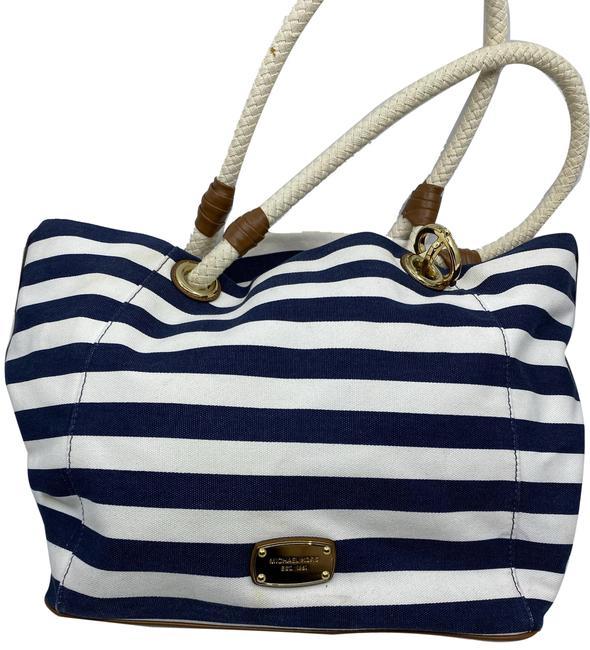 Item - Shopping Nautical Fabric Navy White Canvas Tote