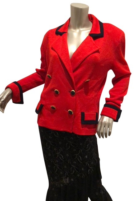 Item - Red Double Breasted Knit Jacket 14 Blazer Size 8 (M)