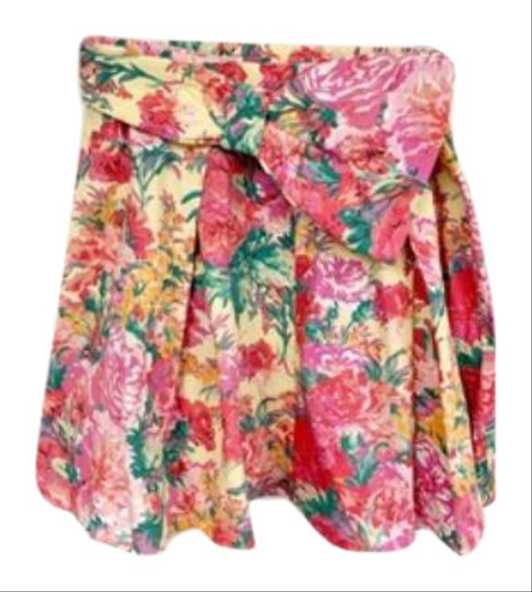 Item - Green Pink Cotton Floral Belted Mini Skirt Size 8 (M, 29, 30)