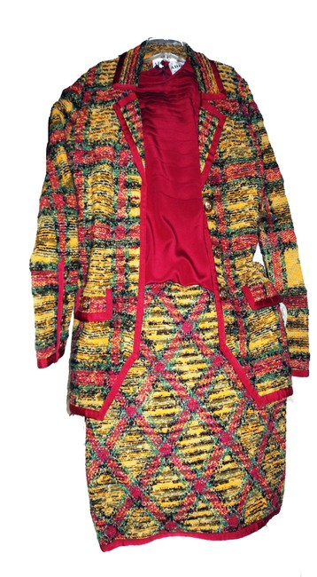 Item - Multi Yellow Red Green Classic Colorful Skirt Suit Size 12 (L)