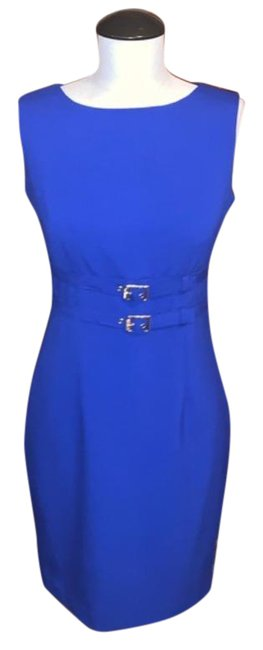 Item - Blue Sleeveless Sheath Short Work/Office Dress Size Petite 4 (S)
