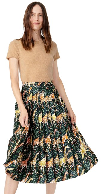 Item - Green and Orange Pleated In Girraffe Skirt Size 4 (S, 27)